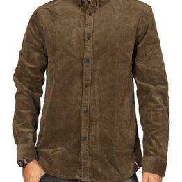 Anerkjendt Akkonrad κοτλέ πουκάμισο σκούρο λαδί - 9519021-4034