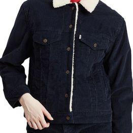 Levi's® Ex-boyfriend corduroy sherpa trucker jacket vintage navy - 36137-0028