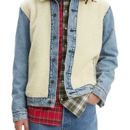 Levi's® sherpa panel trucker jacket so sheepy medium wash - 77379-0000