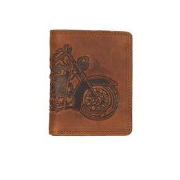 Hill Burry RFID δερμάτινο κάθετο πορτοφόλι με ανάγλυφη μοτοσικλέτα - 88810-6402-mcn-br