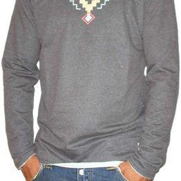 Bigbong ανδρική μακρυμάνικη μπλούζα ανθρακί με αζτέκ πριντ - bg-20-23
