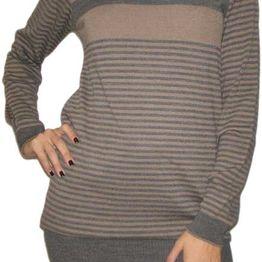 Agel Knitwear ριγέ πλεκτό μπλουζοφόρεμα με ντραπέ λαιμό - w14301-br
