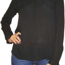 Γυναικείο μαύρο πουκάμισο με μακρύ μανίκι - kd-1707