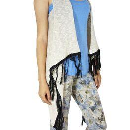 Agel Knitwear πλεκτή αμάνικη ζακέτα μπεζ με κρόσια - s15429-bei