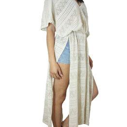 Agel Knitwear κροσέ καφτάνι μπεζ - s15424-bei