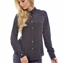 Γυναικείο πουκάμισο μαύρο με χρυσά κουμπάκια - t-011