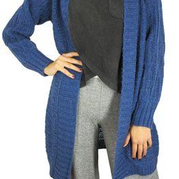 Agel Knitwear ζακέτα μπλε με αραιή πλέξη - w15579-bl
