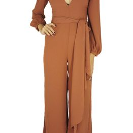 Glamorous ολόσωμη φόρμα σε χρώμα σκουριάς με ζώνη - ck2056