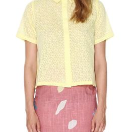 Pepaloves Daisy ριχτό κοντό πουκάμισο λεμονί - 107804