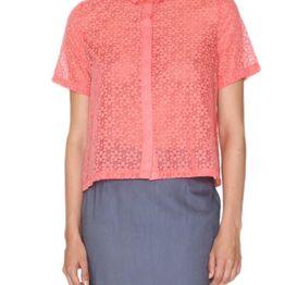 Pepaloves Daisy ριχτό κοντό πουκάμισο κοραλί - 107805