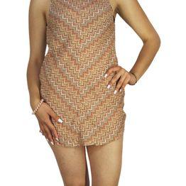 Afends αμάνικο μίνι φόρεμα Jam crochet mustard - 51-03-076