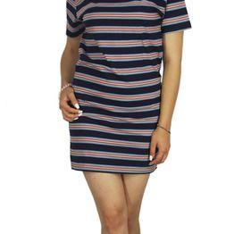 Afends κοντομάνικο ριγέ μίνι φόρεμα Nik navy - 51-03-075