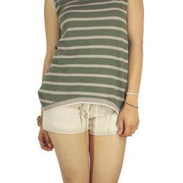Agel Knitwear αμάνικη πλεκτή μπλούζα ριγέ χακί-μπεζ - s16638-kh