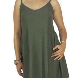 Agel Knitwear πλεκτό φόρεμα χακί με τιράντες - s16646-kh