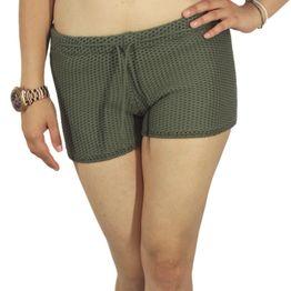 Agel Knitwear πλεκτό σορτσάκι χακί - s16644-kh