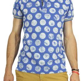Best choice polo μπλουζάκι γαλάζιο με μεγάλο λευκό πουά - bc-s16086-bl