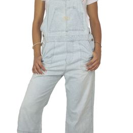 90s vintage denim gropped overall light blue - vo-9123-10685