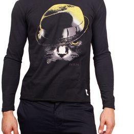 Bigbong μακρυμάνικη μπλούζα μαύρη Cat with hat print - a1-110-mm-blk