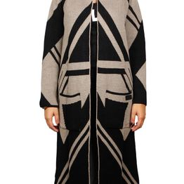 Agel Knitwear longline πλεκτή ζακέτα μαύρη-μπεζ - w16717-blk