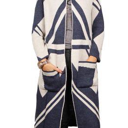 Agel Knitwear longline πλεκτή ζακέτα μπλε-εκρού - w16717-bl