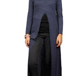 Agel Knitwear maxi τουνίκ μπλε με σκίσιμο - w16714-bl
