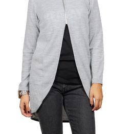 Agel Knitwear πλεκτή τουνίκ γκρι μελανζέ με φερμουάρ - w16712-gr