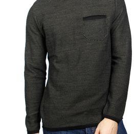 3PLAY ανδρική πλεκτή μπλούζα μελανζέ μαύρη-χακί - 3pl-080-kh