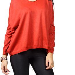 Agel Knitwear πλεκτή loose fit μπλούζα κόκκινη - w16752-rd