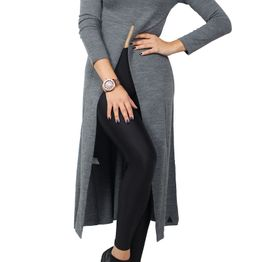 Agel Knitwear maxi τουνίκ γκρι με σκίσιμο - w16714-gr