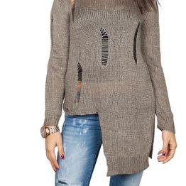 Agel Knitwear πλεκτή μπλούζα πούρο χρώμα με σκισίματα - w16709-tob
