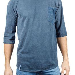 Best Choice ανδρική μπλούζα μπλε πετροπλυμένη με τσεπάκι - bc-w17090-cover