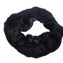 Πλεκτός λαιμός μαύρος με γουνάκι - 17098-blk