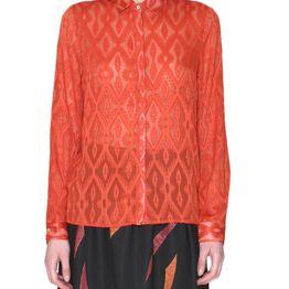 Pepaloves Virginia μακρυμάνικο διάφανο πουκάμισο κεραμιδί - 108172