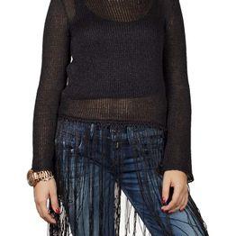 Agel Knitwear crop μπλούζα πλεκτή με κρόσια σε μαύρο - w16704-blk