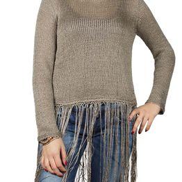 Agel Knitwear crop μπλούζα πλεκτή με κρόσια σε πούρο χρώμα - w16704-tob