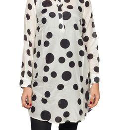 Soft Rebels Uma μακρύ πουκάμισο εκρού με μαύρο πουά - sr616-757