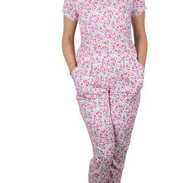 Ολόσωμη φόρμα κοντομάνικη λευκή με ροζ φλοράλ - ds-19120