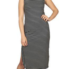 LTB Nidera midi φόρεμα ασπρόμαυρο ριγέ - 83025-60197