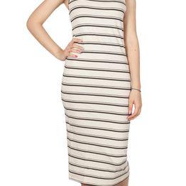 LTB Cipoya midi φόρεμα ριγέ εκρού-μαύρο - 82051