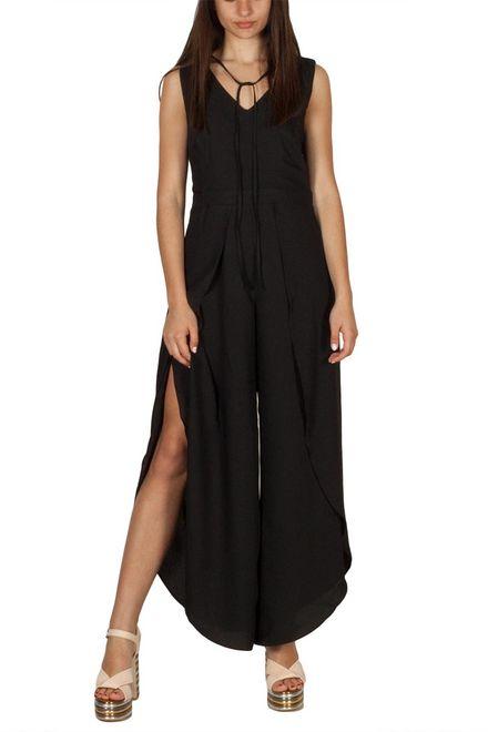 Ryujee Danielle ολόσωμη φόρμα μαύρη με πλαϊνά ανοίγματα - ry-danielle-blk