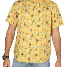 Anerkjendt Edge κοντομάνικο πουκάμισο κίτρινο με πριντ - 9218059
