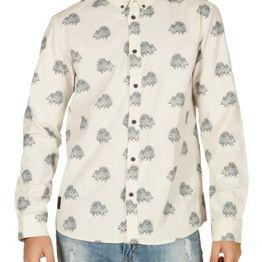 Anerkjendt Konrad μακρυμάνικο πουκάμισο εκρού με πριντ - 9218018