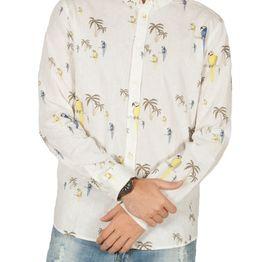 Anerkjendt Konrad linen-mix μακρυμάνικο πουκάμισο εκρού - 9218041