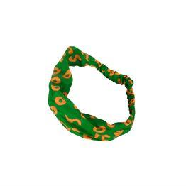 Σατέν κορδέλα για μαλλιά πράσινη-πορτοκαλί - 14003-gno
