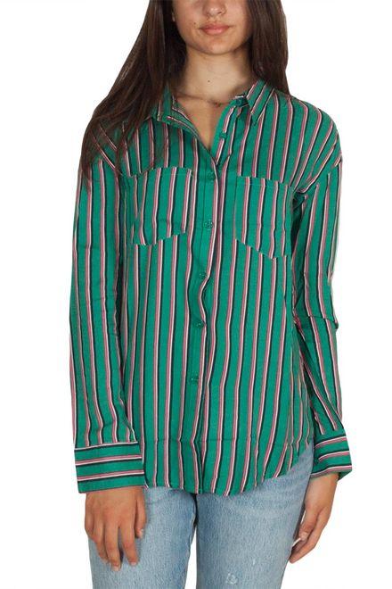 Daisy Street ριγέ πουκάμισο πράσινο - nbt-827