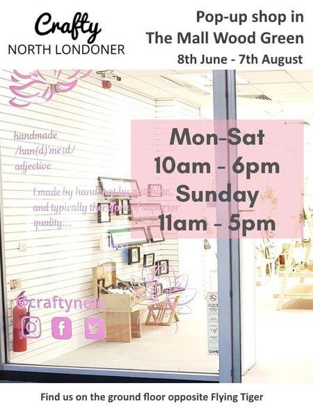 poster or flyer advertising event Crafty North Londoner pop-up shop