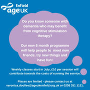 Age UK Enfield launching a 6-month project for people with dementia