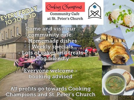 poster or flyer advertising event Cooking Champions Community Cafe open