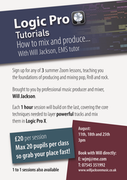 Online mixing and producing course - Aug 11th, 18th & 25th - Comment by Will Jackson