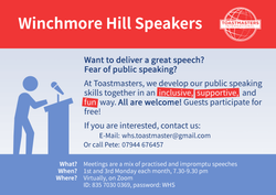 Improve your speaking skills and lose those anxieties with Winchmore Hill Speakers